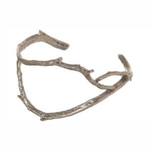 handmade cast silver twig cuff