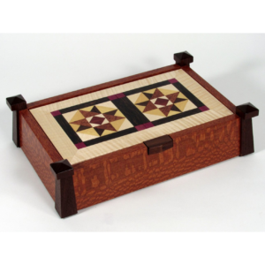 s-Towers of Camelot- Lacewood, handmade wooden quilt jewelry box