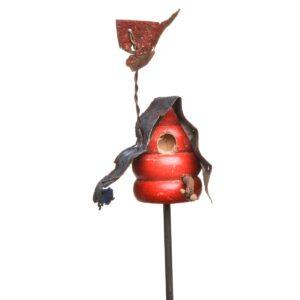 red reclaimed wooden birdhouse garden stake