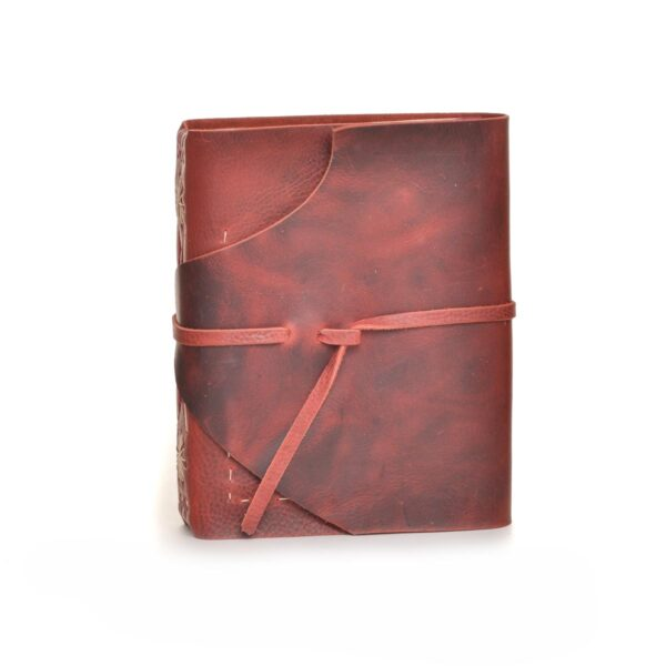 handmade journal with red leather