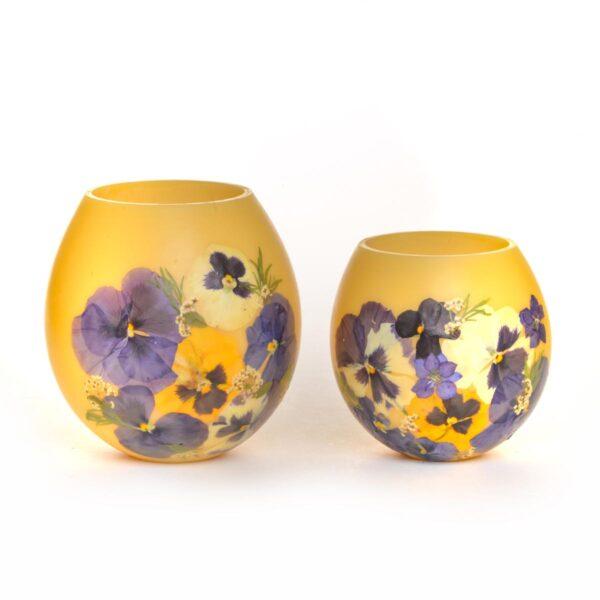 handmade pansy beeswax round lanterns