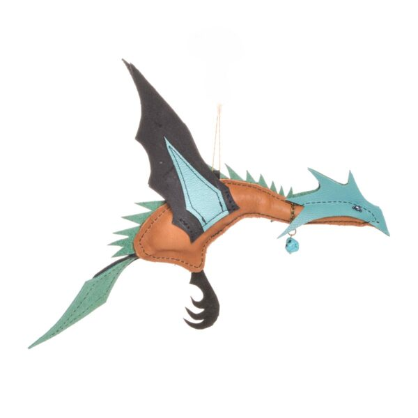 teal and black handmade leather dragon ornament