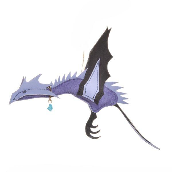 purple and black handmade leather dragon ornament