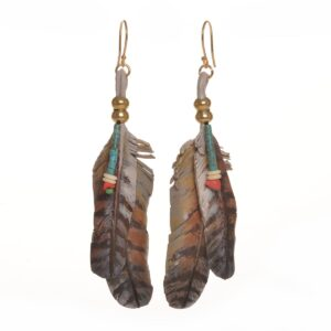 hawk feather handmade leather earrings with turquoise and coral stones