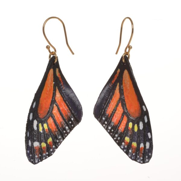 orange monarch leather handmade and hand painted earrings