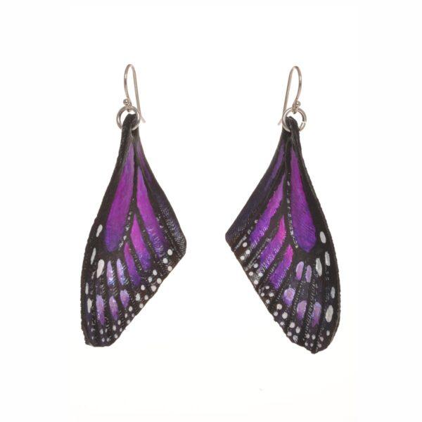 purple monarch butterfly earrings, painted purple leather butterfly earrings