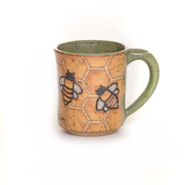 medium wheel thrown and carved bee mug
