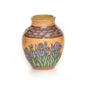 handmade yellow carved vase with purple iris's