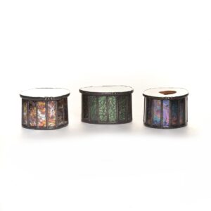 small stained glass box with colorful slice of geode for lid