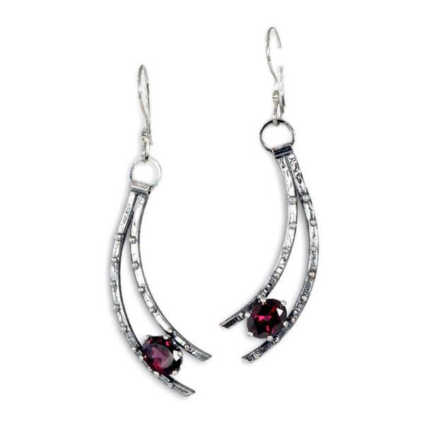 garnet silver shooting star handmade earrings