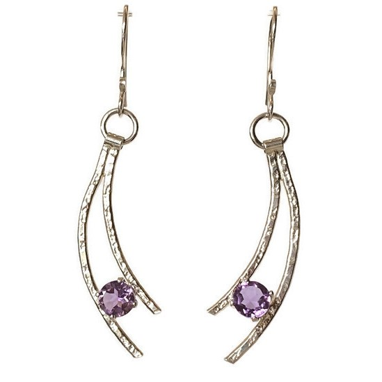 purple amethyst shooting star silver earrings