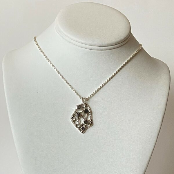 black diamond and cast sterling silver necklace
