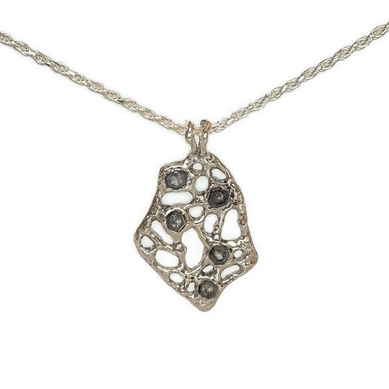 black diamond cast silver handmade necklace