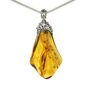 amber handmade silver necklace