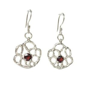 flower silver handmade earrings with garnet centers
