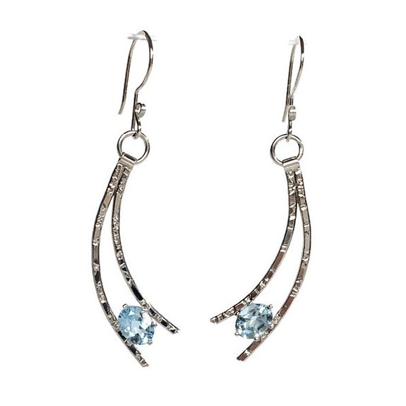 aquamarine shooting star earrings, handcrafted silver and blue stone earrings