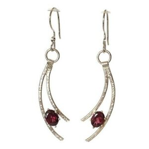 garnet handmade earrings with sterling silver shoot star streams