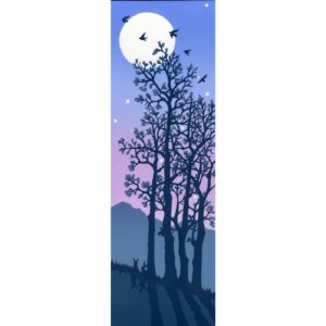 moon rising print with mountains and budding trees, tall narrow mountain handmade print