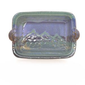 blue and green handmade ovensafe baking dish, handmade mountain kitchen decor