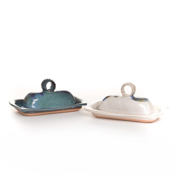 handmade ceramic slab blue and green covered butterdish