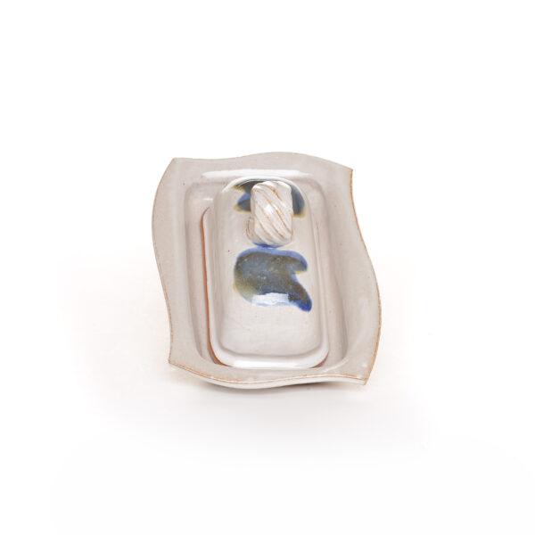 handmade ceramic slab white covered butterdish