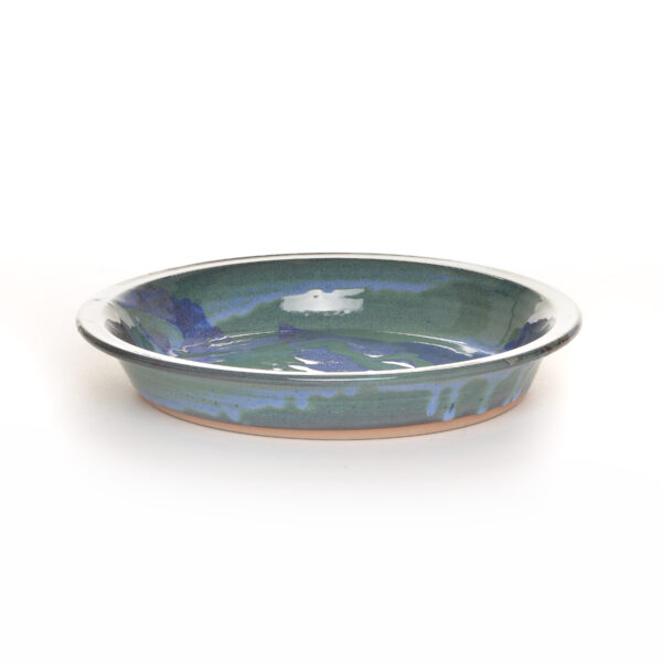 blue and green handmade pie plate, mountain home decor, handmade ceramic pie plate