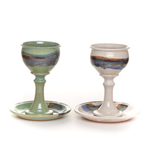 handmade ceramic communion set in green