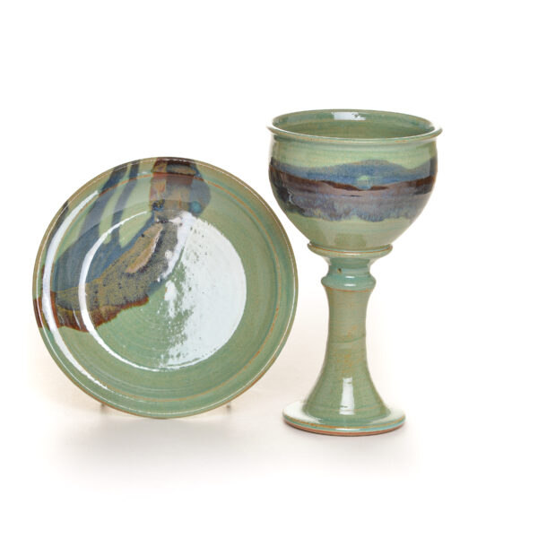 handmade ceramic communion set in green