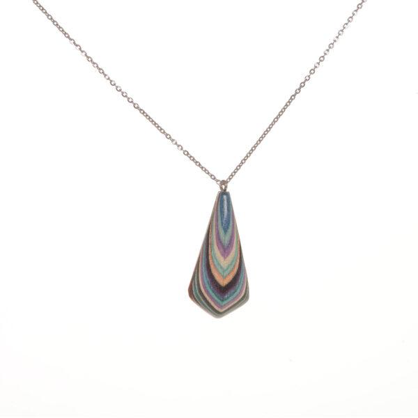 tear drop colorful wooden necklace pendant, buzz coren woodworker