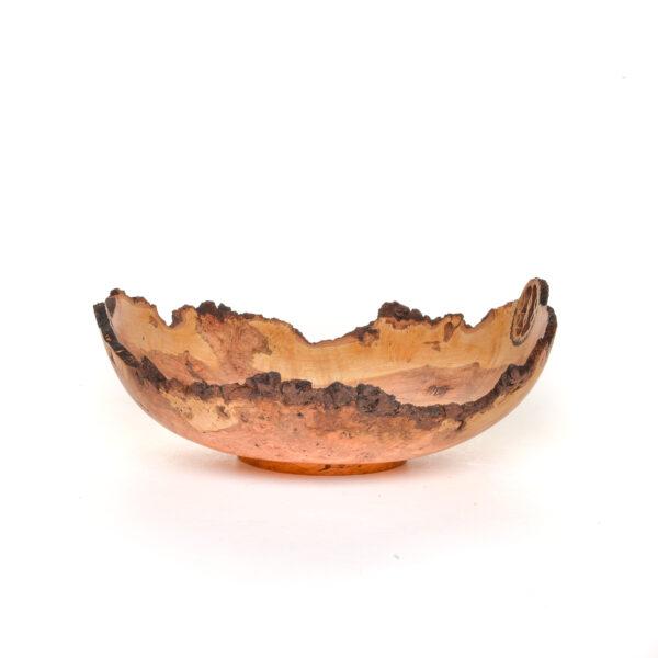 23025 turned handmade cherry burl bowl with 2 inlaid walnut slices