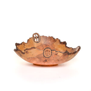 23025 turned handmade cherry burl bowl with 2 inlaid walnut slices