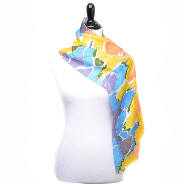 bright marbled silk scar in a rainbow of colors, red orange yellow blue and purple marbled silk scarf