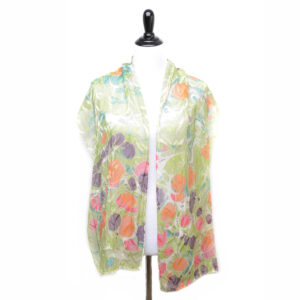 spring colored handmade marbled silk scarf