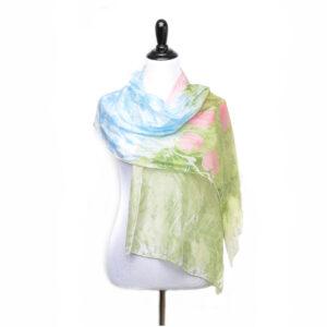 spring light handmade marbled silk scarf, green blue and pink handmade silk scarf