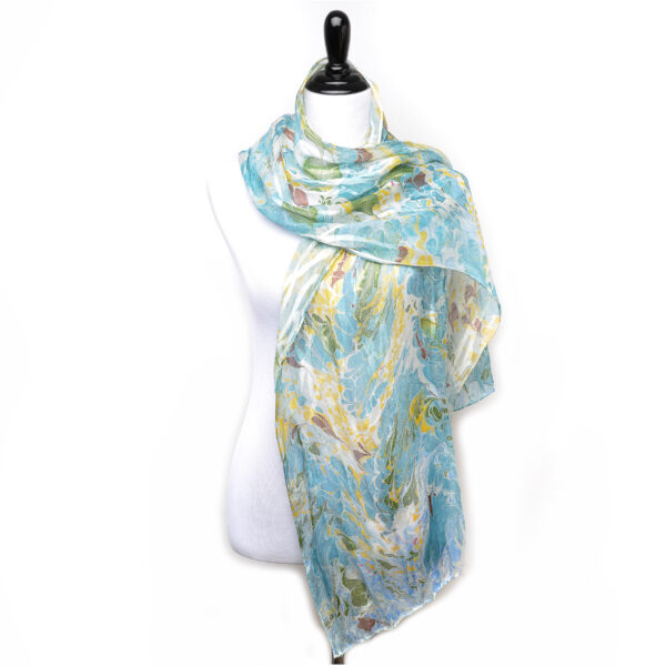 blue and green handmade marbled silk scarf