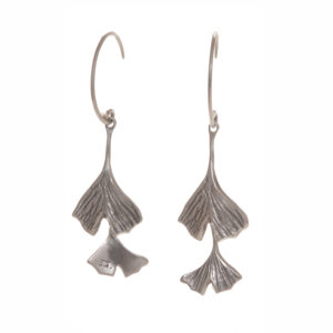 double ginkgo sterling silver earrings