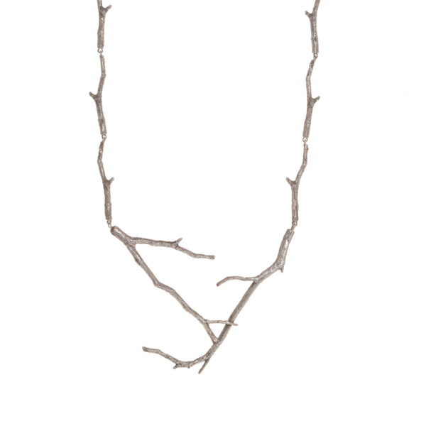 cast solid silver twig necklace, nature jewelry