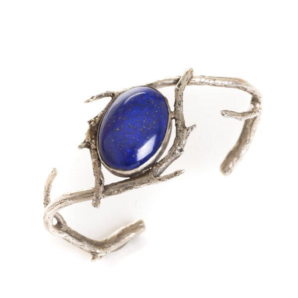 cast silver twig bracelet cuff with large oval lapis lazuli gemstone, nc nature jewelry