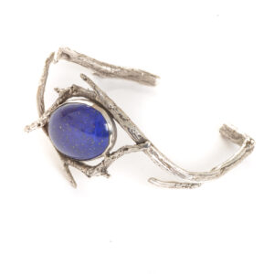 cast silver twig bracelet cuff with large oval lapis lazuli gemstone, nc nature jewelry