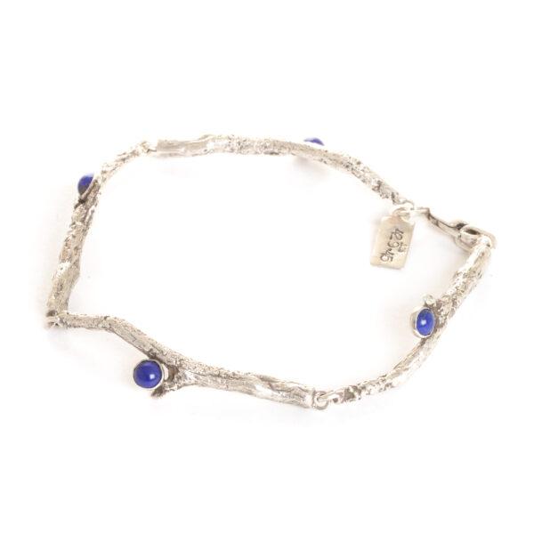 cast silver twig bracelet with lapis lazuli, handmade silver twig bracelet, nc jeweler, nature jewelry
