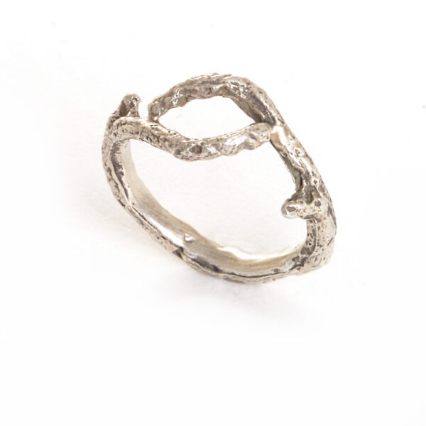 cast sterling silver twig ring, size 8.5 sliver twig ring, nature jewelry