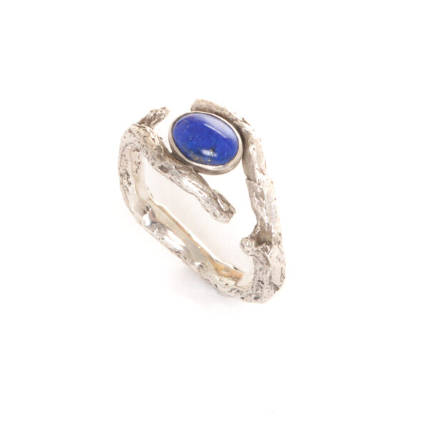 large cast silver twig ring with oval lapis lazuli gemstone