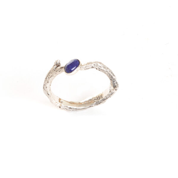 think cast silver twig ring with lapis lazuli