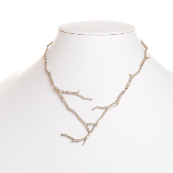 cast silver twig necklace, nature jewelry