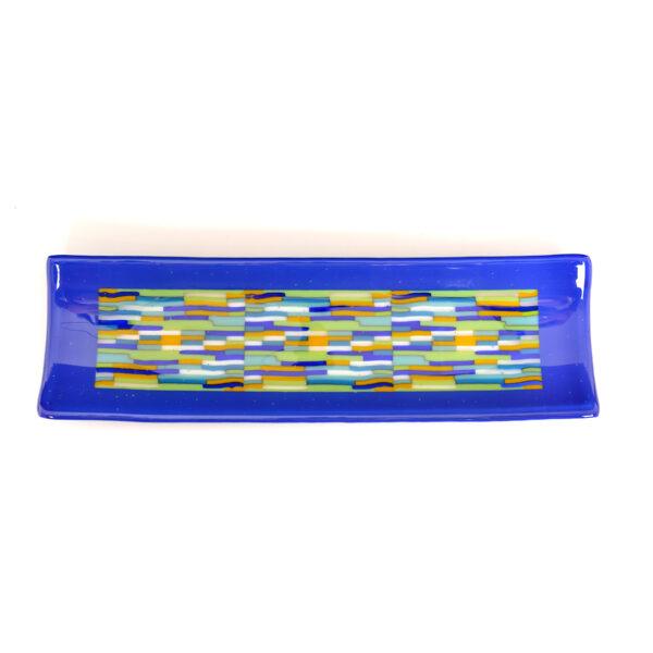 cobalt blue fused glass long rectangle plate, north carolina glass artist