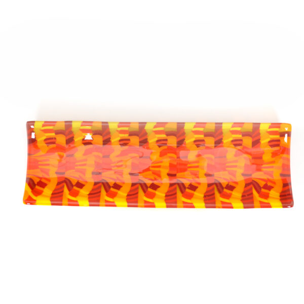 red and orange fused glass long rectangle plate