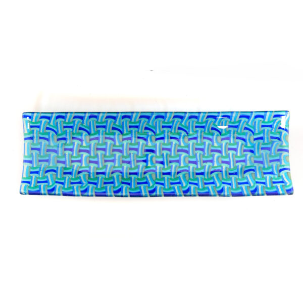 blue basket weave rectangle fused glass plate