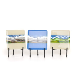 fused glass mountain landscape tiles