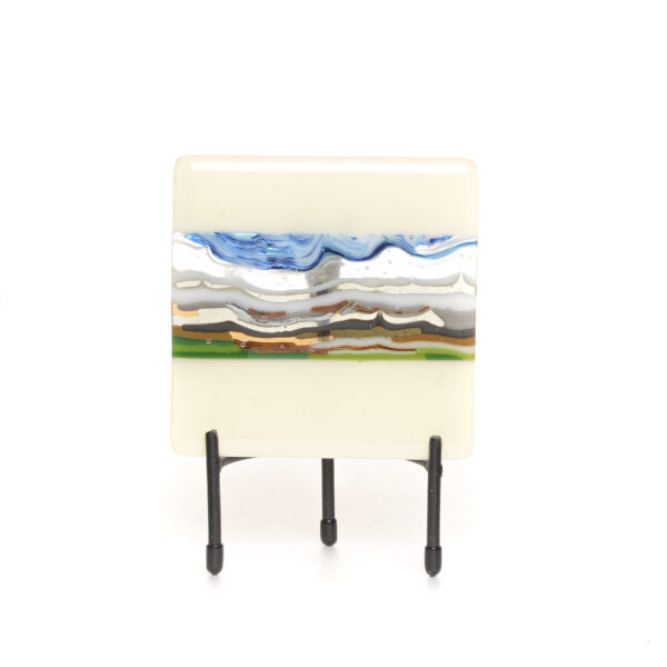winter fused glass mountain landscape with black metal stand