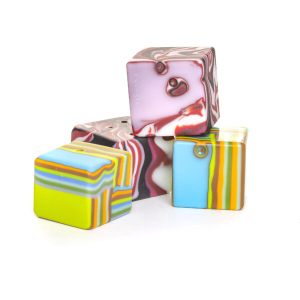 solid glass colorful cube paperweights, fused glass table art,